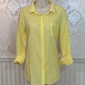 J. Crew Perfect Shirt in Yellow Gingham